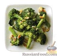 Фото к рецепту: Брокколи с горчичной заправкой и кедровыми орешками