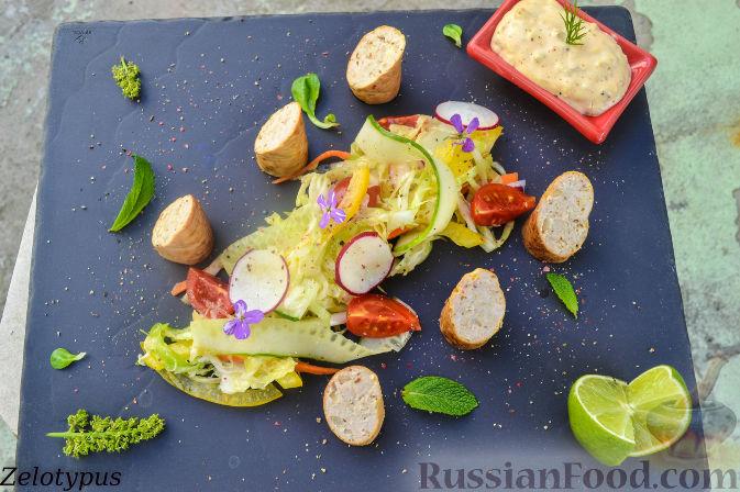 Рецепт Копченые колбаски из рубленой индейки со сливочным сыром