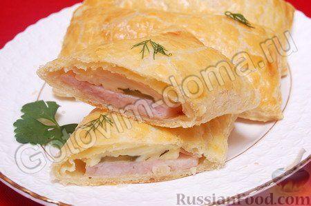Рецепт Слойка с сыром и ветчиной