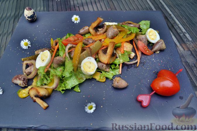 Рецепт Салат с куриными сердечками