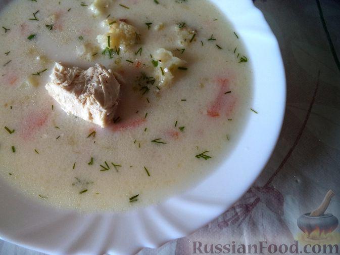 Рецепт Нежный куриный суп с плавленым сыром и овощами