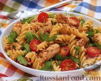 Фото к рецепту: Салат из пасты и куриного филе