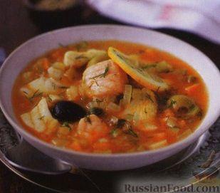 Рецепт Рыбный суп с оливками, солеными огурцами и каперсами