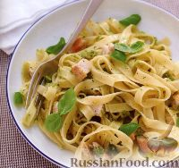Фото к рецепту: Феттуччине с жареным куриным филе и соусом песто