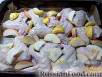 Фото приготовления рецепта: Куриные крылышки, запеченные с яблоками - шаг №7