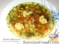 Фото к рецепту: Овощной суп с кукурузой и цветной капустой