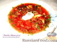 Фото к рецепту: Зеленый борщ с ревенем по-венгерски