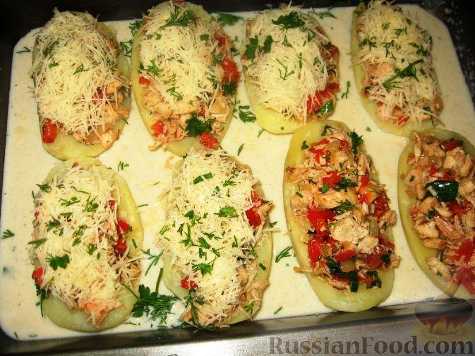 Картофельные лодочки запеченный с фаршем в духовке рецепт