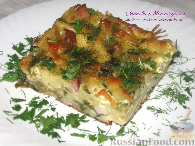 Рецепт Запеканка из макарон, грудинки и шпината