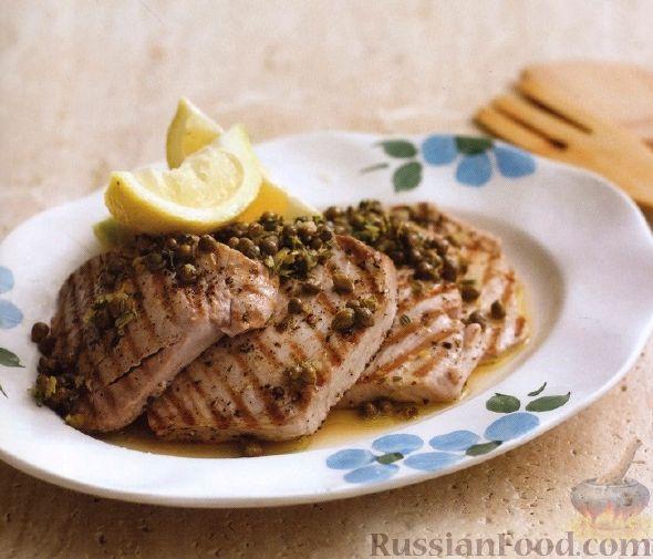 Рецепт Жареный тунец с лимонным соусом