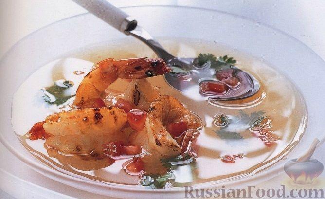 Рецепт Томатный суп с персиками и креветками