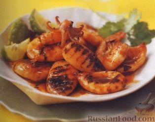 Рецепт Жареные кальмары с острым соусом