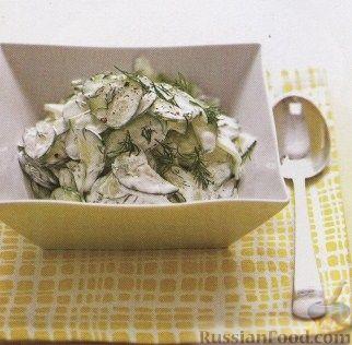 Рецепт Огуречный салат со сметаной и укропом