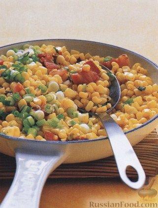 Рецепт Жареная кукуруза с беконом и луком
