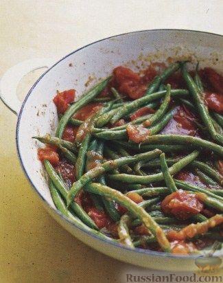 Рецепт Жареная стручковая фасоль с помидорами