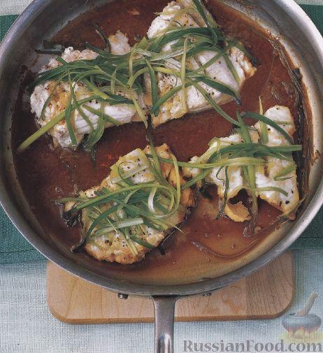 Рецепт Тушеная треска с имбирем и зеленым луком