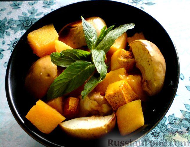 Рецепт Тыква, запеченная в духовке с яблоками и айвой