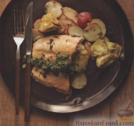 Рецепт Картофель запеченый с лососем