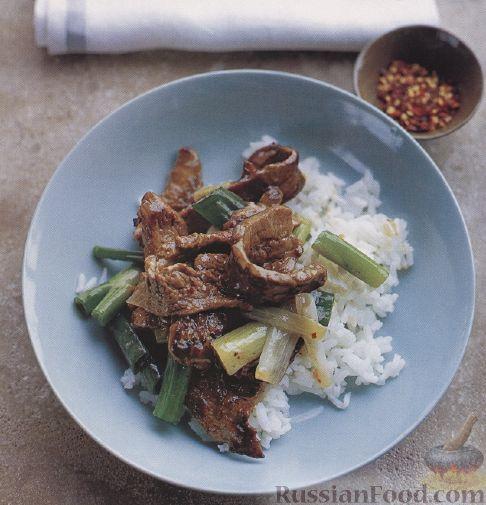Рецепт Жареная говядина с луком и рисом