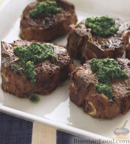 Рецепт Баранина с соусом песто из петрушки