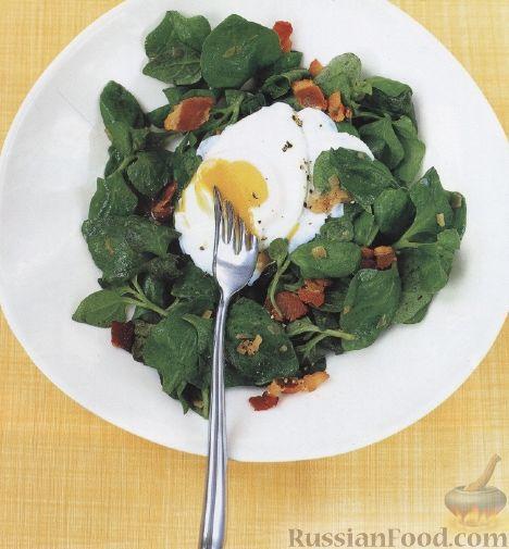 Рецепт Салат из шпината с яйцами-пашот