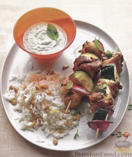 Рецепт Шашлыки из куриного филе, цуккини и лука