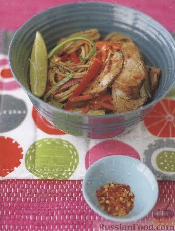 Рецепт Салат пикантный из лапши и свинины