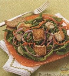 Рецепт Салат из тофу, горошка и моркови