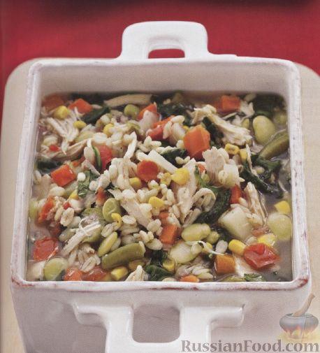 Рецепт Куриный суп с овощами и перловкой