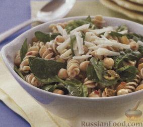 Рецепт Салат с макаронами, нутом и шпинатом
