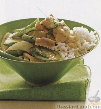 Рецепт Тушеное куриное филе со стручковой фасолью