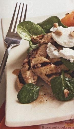 Рецепт Куриное филе с персиками и вишневой заправкой