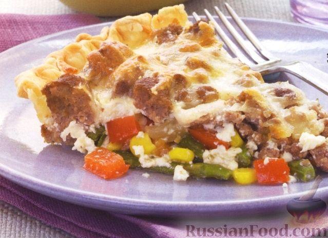Рецепт Открытый пирог с купатами и овощами