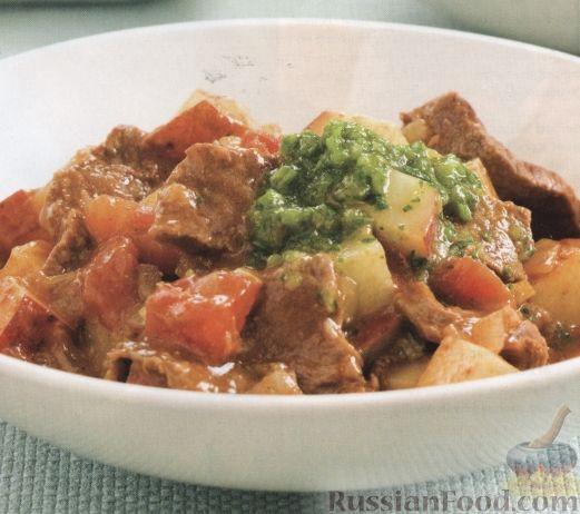 Рецепт Мясо с картофелем под соусом карри