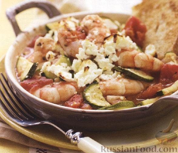 Рецепт Тушеные креветки с помидорами и сыром фета