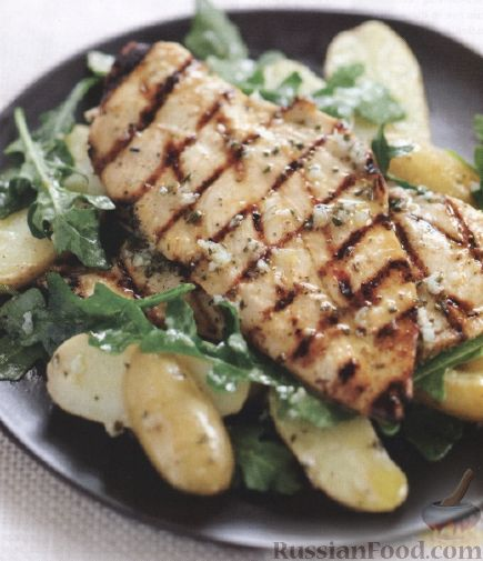 Рецепт Жареная курица с картофельным салатом