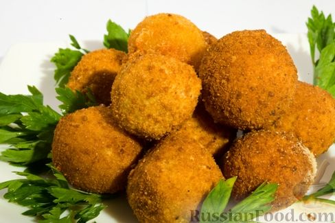 Рецепт Постные картофельные шарики, фаршированные грибами