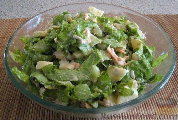Рецепт Салат из курицы с яблоком, морковью, сельдереем и листьями салата