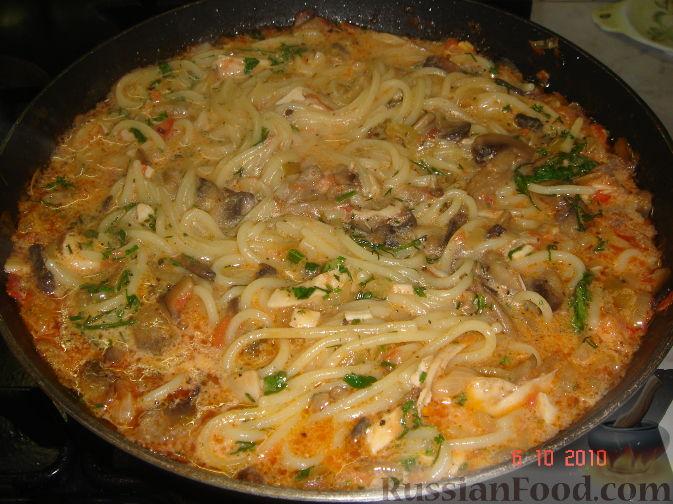 Рецепт Паста с грибами и куриным филе