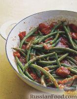 Фото к рецепту: Жареная стручковая фасоль с помидорами