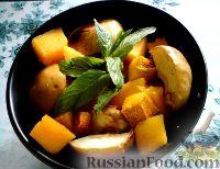 Фото к рецепту: Тыква, запеченная в духовке с яблоками и айвой