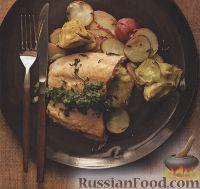 Фото к рецепту: Картофель запеченый с лососем