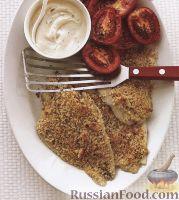 Фото к рецепту: Камбала с печеными помидорами