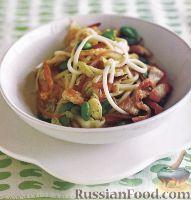 Фото к рецепту: Спагетти с курятиной и зеленой фасолью