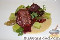 Фото к рецепту: Кубики говядины с соусом из фуа-гра и яблочным желе