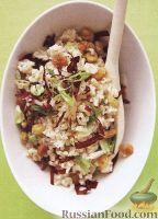 Фото к рецепту: Рисовый салат с изюмом и красным цикорием