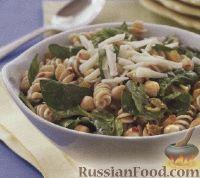Фото к рецепту: Салат с макаронами, нутом и шпинатом