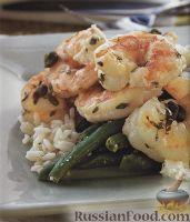 Фото к рецепту: Креветки с каперсами, чесноком и рисом