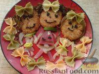 """Фото к рецепту: Котлетки с макаронами """"Весёлые человечки"""""""
