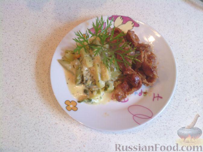 Рецепт Жареные куриные потрошки с гарниром из молодых кабачков